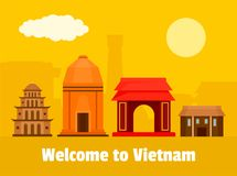 Welcome to Vietnam background, flat style. Welcome to Vietnam background. Flat illustration of welcome to Vietnam vector background for web design Stock Photography