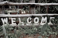 Welcome to the vintage. Symbol welcome on vintage leaking timber Stock Photo