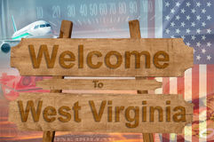 Welcome to West Virginia state in USA sign on wood, travell theme Royalty Free Stock Image