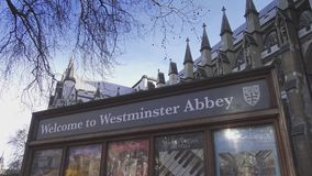 Welcome to Westminster Abbey sign   15th january 2016. England United Kingdom videoclip stock video footage