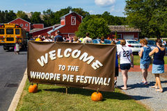 Welcome to the Whoopie Pie Festival Sign. Ronks, PA - September 10, 2016: It's a big Welcome to the Whoopie Pie Festival at Hershey Farms near Strasburg Stock Photography