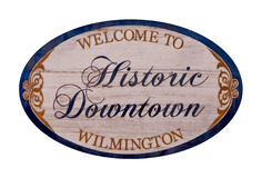 Welcome to Wilmington. A Welcome to Historic Downtown Wilmington sign isolated on white royalty free stock image