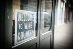 Welcome to Wine country. Sign of a restaurant in Paris (France Royalty Free Stock Image