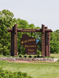 Welcome to Wisconsin. A welcome sign at the Wisconsin state line royalty free stock photography