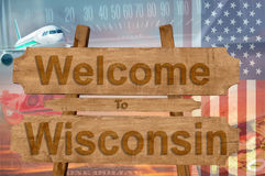 Welcome to Wisconsin state in USA sign on wood, travell theme royalty free stock photography