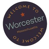 Welcome to Worcester Massachusetts. Tourism badge or label sticker. Isolated on white. Vacation retail product for print or web stock illustration