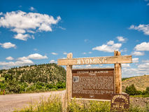 Welcome Wyoming Cheyenne road sign Royalty Free Stock Photography