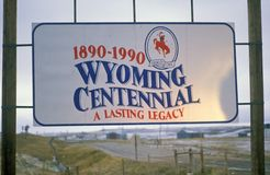 Welcome to Wyoming Sign Stock Image
