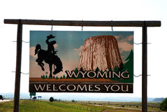 Welcome to Wyoming. A welcome sign at the Wyoming state line Stock Photo