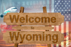 Welcome to Wyoming state in USA sign on wood, travell theme Royalty Free Stock Photo