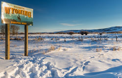 Welcome to Wyoming in the Winter Stock Photo