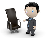 Welcome to your new place of work. Social 3D chara. Businessman pointing at leather office chair. New constantly growing collection of expressive unique multiuse Stock Image