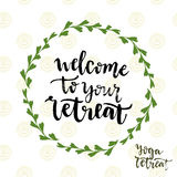 Welcome to your retreat. Vector icon with lettering. Yoga retreat poster Royalty Free Stock Photo
