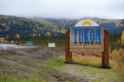 Welcome to Yukon. Sign on Alaska Highway at the United States Canada border Stock Photography