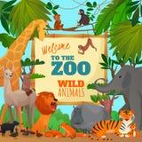 Welcome To Zoo Cartoon Poster. With lion elephant giraffe tiger hippopotamus antelope monkeys vector illustration Stock Photo