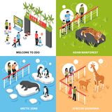 Zoo 2x2 Isometric Design Concept. Welcome to zoo 2x2 design concept with asian rainforest arctic zone and african savannah square icons isometric vector Royalty Free Stock Image
