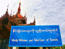 Welcome tourist sign in Mingun, Mandalay, Myanmar Royalty Free Stock Photo