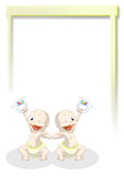 Welcome twins. Illustration of happy twins newborn Stock Images