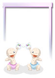 Welcome twins. Illustration of happy twins newborn Royalty Free Stock Photos