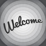 Welcome typography BW old movie screen.  Stock Photography