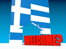 Welcome under question and home icon textured by greece flag Stock Image