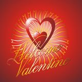 Welcome valentine. Valentines day, vector background with two hearts and decorative elements royalty free illustration