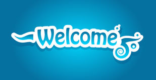 Welcome vector lettering. On blue background. Vector illustration Stock Photos