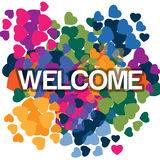 Welcome_vectore. Helping Hands. Abstract illustration in love colorful icon, t-shirt, background, etc Stock Photography
