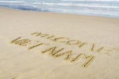 Welcome Vietnam Beach. Welcome Vietnam written on the sand in Danang beach, Vietnam Stock Photos