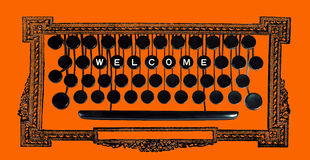 Welcome on vintage keyboard Stock Photos