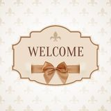 Welcome, vintage, retro banner with golden ribbon Stock Photo
