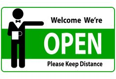 Free Welcome We`re Open And Please Keep Distance Vector Text With A Man Sign Royalty Free Stock Photos - 188253128