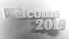 Welcome 2019 white - 3D rendering. The write Welcome 2019 is bent over a white surface - 3D rendering Stock Photo