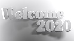 Welcome 2020 white - 3D rendering. The write Welcome 2020 is bent over a white surface - 3D rendering Royalty Free Stock Photo