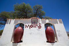 Welcome white wall and sign in Molinos, near Cachi. Argentina Stock Photography