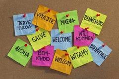 Welcome, willkommen, bienvenue, aloha, ... Welcome in a dozen of languages (Finnish, Slovak, Tahitian, Italian, Latin, English, German, Hawaiian, Portuguese Stock Photos