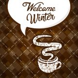 Welcome Winter Coffee Cup Vector Image. Coffee cup vector morning hot drink mug food white espresso cafe logo winter dark icon beverage illustration caffeine Royalty Free Stock Photo
