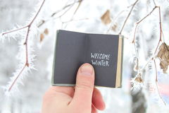 Welcome winter creative concept stock images