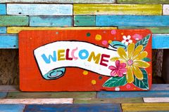 Welcome wood sign Stock Photo