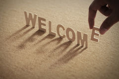 WELCOME wood word on compressed board Royalty Free Stock Photo