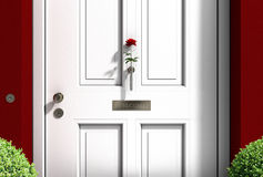 Welcome wooden door with red rose Stock Image