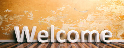 Welcome on wooden floor and painted wall. 3d illustration. Word welcome on wooden floor and old painted wall background. 3d illustration vector illustration