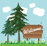 Welcome wooden plate Royalty Free Stock Photography