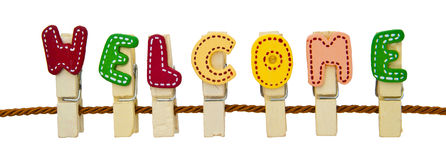 Welcome word. Clip on the rope Royalty Free Stock Photo