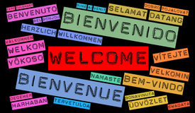 Welcome word cloud Stock Photo