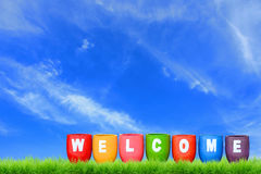 Welcome. Word on colorful pot Stock Photography