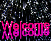 Welcome Word With Fireworks Showing Greeting Of Hospitality Royalty Free Stock Images