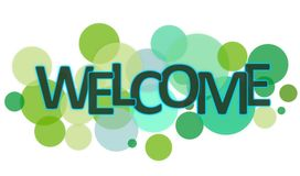 Welcome word. With green circles on white Royalty Free Stock Photography