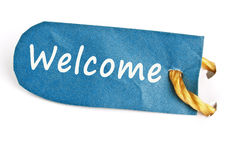 Welcome word on label. Welcome word on isolated label Royalty Free Stock Photos