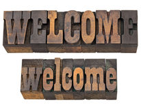 Welcome word in letterpress wood type Stock Image